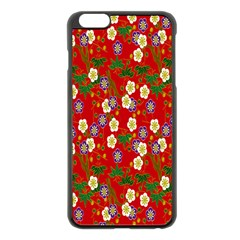 Red Flower Floral Tree Leaf Red Purple Green Gold Apple Iphone 6 Plus/6s Plus Black Enamel Case