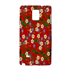Red Flower Floral Tree Leaf Red Purple Green Gold Samsung Galaxy Note 4 Hardshell Case