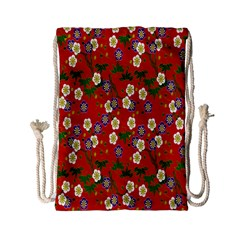 Red Flower Floral Tree Leaf Red Purple Green Gold Drawstring Bag (small) by Alisyart