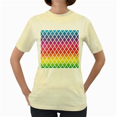 Colorful Rainbow Moroccan Pattern Women s Yellow T Shirt