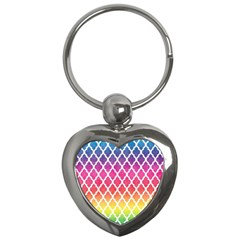 Colorful Rainbow Moroccan Pattern Key Chains (heart)  by Amaryn4rt