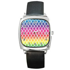 Colorful Rainbow Moroccan Pattern Square Metal Watch by Amaryn4rt