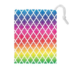 Colorful Rainbow Moroccan Pattern Drawstring Pouches (extra Large)