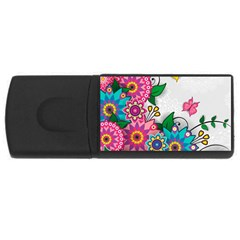 Flowers Pattern Vector Art Usb Flash Drive Rectangular (4 Gb) by Amaryn4rt