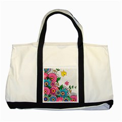 Flowers Pattern Vector Art Two Tone Tote Bag by Amaryn4rt
