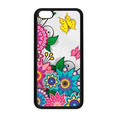 Flowers Pattern Vector Art Apple Iphone 5c Seamless Case (black)