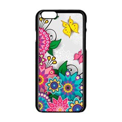Flowers Pattern Vector Art Apple Iphone 6/6s Black Enamel Case by Amaryn4rt