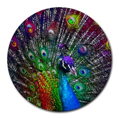 3d Peacock Pattern Round Mousepads