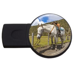 White Horse Tied Up At Cotopaxi National Park Ecuador Usb Flash Drive Round (4 Gb) by dflcprints