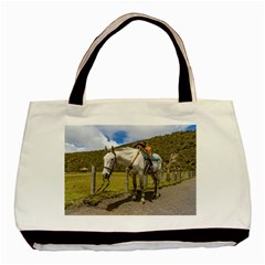 White Horse Tied Up At Cotopaxi National Park Ecuador Basic Tote Bag (two Sides) by dflcprints