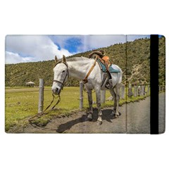 White Horse Tied Up At Cotopaxi National Park Ecuador Apple Ipad 2 Flip Case by dflcprints