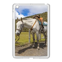 White Horse Tied Up At Cotopaxi National Park Ecuador Apple Ipad Mini Case (white) by dflcprints