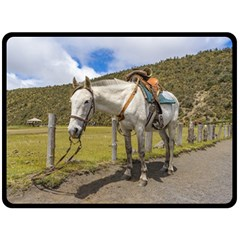 White Horse Tied Up At Cotopaxi National Park Ecuador Double Sided Fleece Blanket (large)  by dflcprints