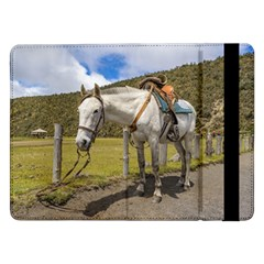 White Horse Tied Up At Cotopaxi National Park Ecuador Samsung Galaxy Tab Pro 12 2  Flip Case by dflcprints