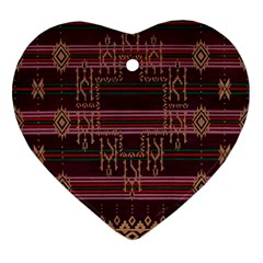 Ulos Suji Traditional Art Pattern Heart Ornament (two Sides) by Amaryn4rt