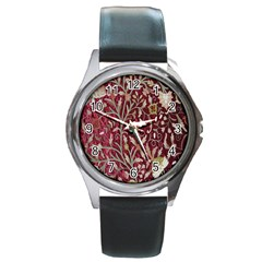 Crewel Fabric Tree Of Life Maroon Round Metal Watch by Amaryn4rt