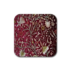 Crewel Fabric Tree Of Life Maroon Rubber Coaster (square)  by Amaryn4rt