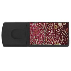 Crewel Fabric Tree Of Life Maroon Usb Flash Drive Rectangular (4 Gb) by Amaryn4rt