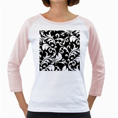 Vector Classical Traditional Black And White Floral Patterns Girly Raglans by Amaryn4rt