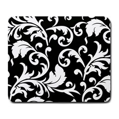 Vector Classical Traditional Black And White Floral Patterns Large Mousepads by Amaryn4rt