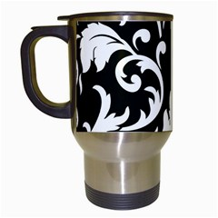 Vector Classical Traditional Black And White Floral Patterns Travel Mugs (white)
