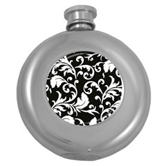 Vector Classical Traditional Black And White Floral Patterns Round Hip Flask (5 Oz) by Amaryn4rt