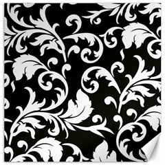 Vector Classical Traditional Black And White Floral Patterns Canvas 20  X 20   by Amaryn4rt