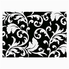 Vector Classical Traditional Black And White Floral Patterns Large Glasses Cloth by Amaryn4rt