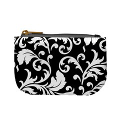 Vector Classical Traditional Black And White Floral Patterns Mini Coin Purses