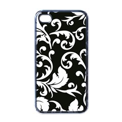 Vector Classical Traditional Black And White Floral Patterns Apple Iphone 4 Case (black) by Amaryn4rt