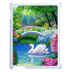 Swan Bird Spring Flowers Trees Lake Pond Landscape Original Aceo Painting Art Apple Ipad 2 Case (white) by Amaryn4rt