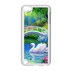 Swan Bird Spring Flowers Trees Lake Pond Landscape Original Aceo Painting Art Apple Ipod Touch 5 Case (white) by Amaryn4rt