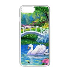 Swan Bird Spring Flowers Trees Lake Pond Landscape Original Aceo Painting Art Apple Iphone 7 Plus White Seamless Case by Amaryn4rt