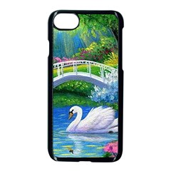 Swan Bird Spring Flowers Trees Lake Pond Landscape Original Aceo Painting Art Apple Iphone 7 Seamless Case (black) by Amaryn4rt