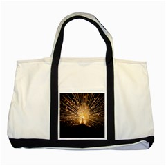 3d Beautiful Peacock Two Tone Tote Bag by Amaryn4rt