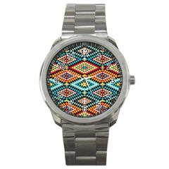African Tribal Patterns Sport Metal Watch by Amaryn4rt