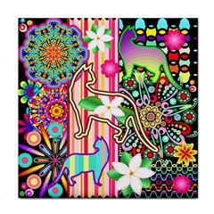 Mandalas, Cats And Flowers Fantasy Digital Patchwork Face Towel by BluedarkArt
