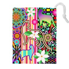 Mandalas, Cats And Flowers Fantasy Digital Patchwork Drawstring Pouches (xxl) by BluedarkArt
