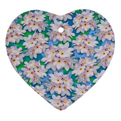 Plumeria Bouquet Exotic Summer Pattern  Heart Ornament (two Sides) by BluedarkArt
