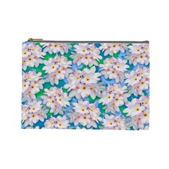 Plumeria Bouquet Exotic Summer Pattern  Cosmetic Bag (large)  by BluedarkArt