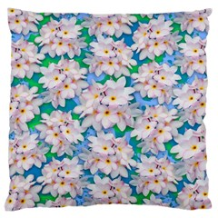 Plumeria Bouquet Exotic Summer Pattern  Large Cushion Case (two Sides) by BluedarkArt