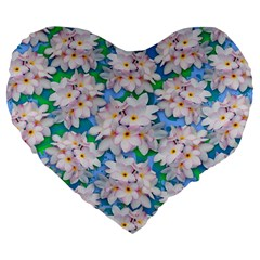 Plumeria Bouquet Exotic Summer Pattern  Large 19  Premium Flano Heart Shape Cushions by BluedarkArt