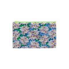 Plumeria Bouquet Exotic Summer Pattern  Cosmetic Bag (xs) by BluedarkArt
