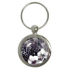 Black White Orchid  Fullmoon Key  (round)
