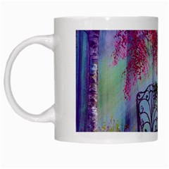 Bench In Spring Forest White Mugs