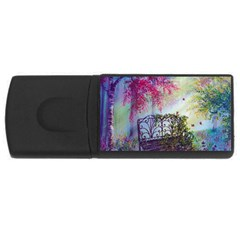 Bench In Spring Forest Usb Flash Drive Rectangular (4 Gb) by Amaryn4rt