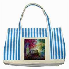 Bench In Spring Forest Striped Blue Tote Bag by Amaryn4rt