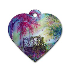 Bench In Spring Forest Dog Tag Heart (two Sides) by Amaryn4rt