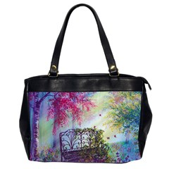 Bench In Spring Forest Office Handbags (2 Sides)
