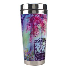 Bench In Spring Forest Stainless Steel Travel Tumblers by Amaryn4rt